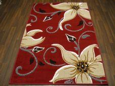 Modern Approx 6x4 115cmx165cm Woven Lily Design Rugs Sale Top Quality Red/Beige